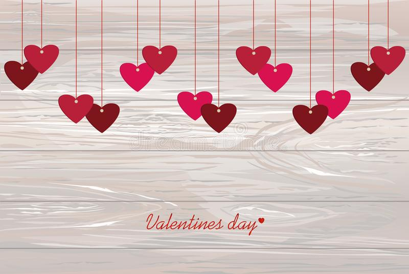Red hearts hanging on a ribbon. Valentine`s Day. Vector illustr. Ation. Greeting card with empty space for your label or advertising. On wooden background stock illustration