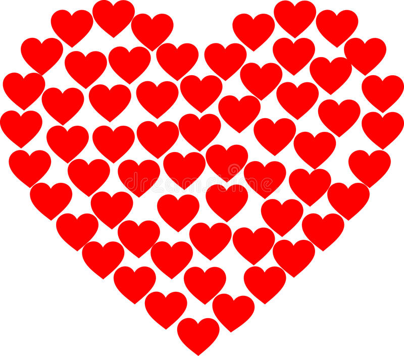 Red Hearts. A heart filled with red Hearts stock illustration