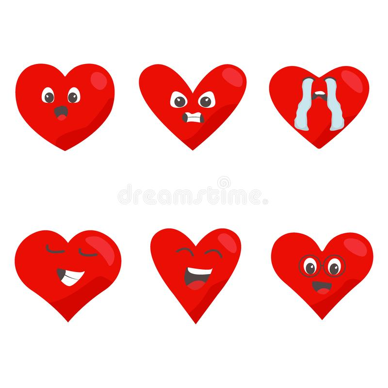 Red hearts icon set. Love symbol Funny emoticon concept cartoon characters vector illustration