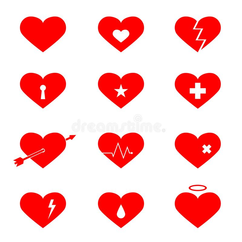 Red hearts flat icons set stock illustration