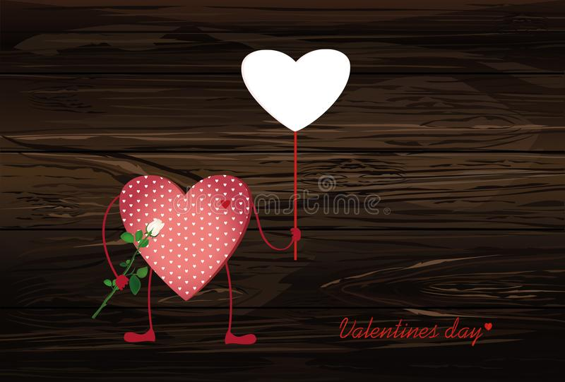 Red hearts with legs. Hands holding empty blank page for your te royalty free illustration