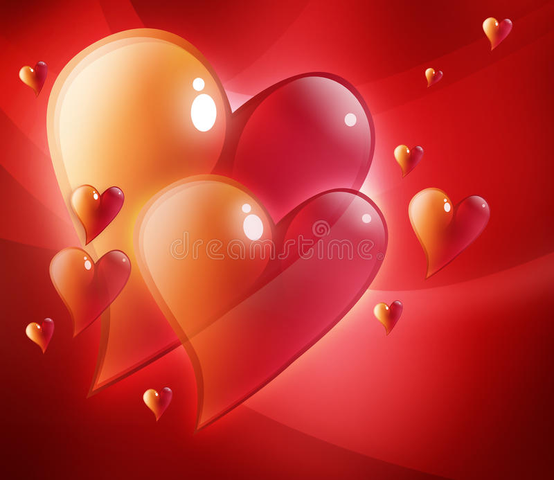Red Hearts in Love. Two large red hearts that are beveled have smaller hearts around them. They are glowing. Use it for a valentines, wedding or love background stock illustration