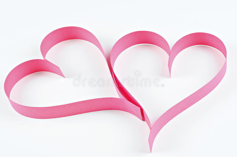Red hearts made of paper; Valentine's Day concept royalty free stock image