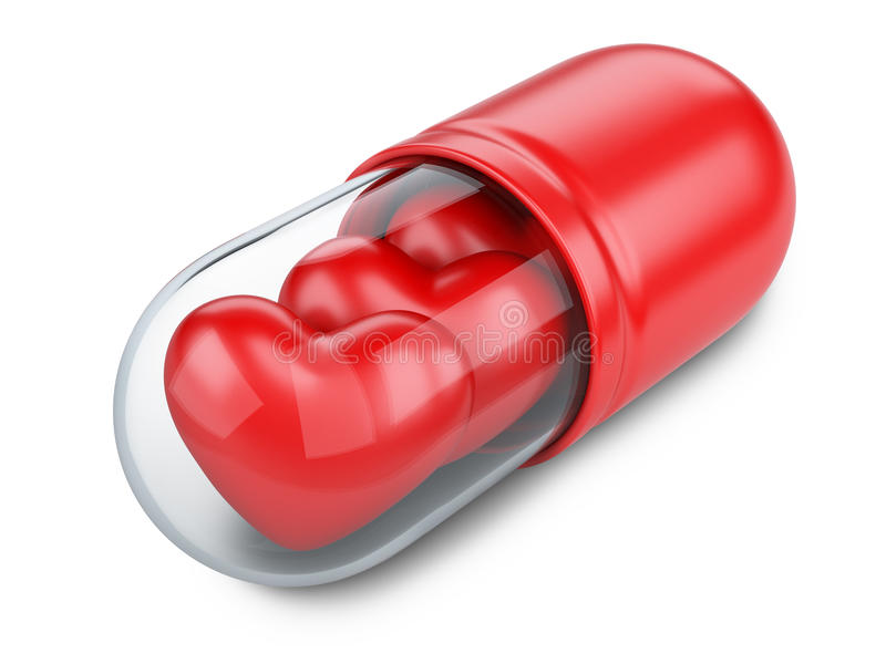 Red hearts in the medical capsule. royalty free illustration