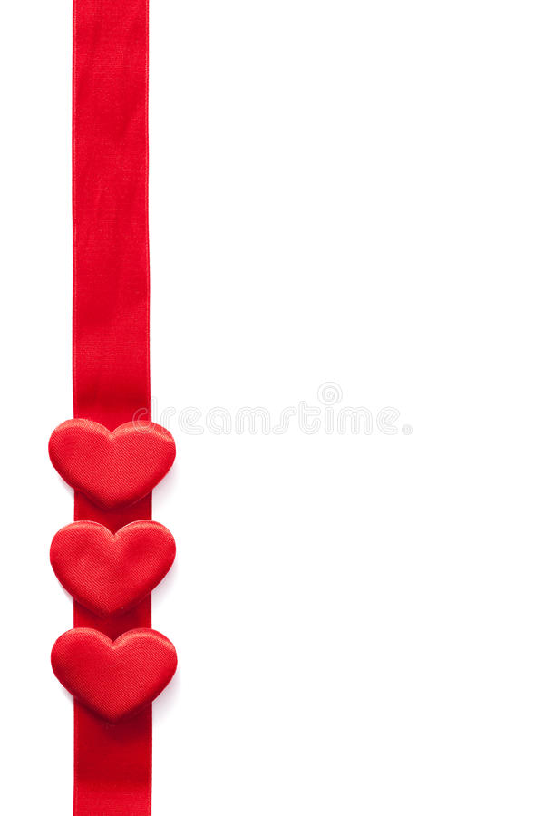 Red hearts over ribbon frame background for Valentines isolated royalty free stock images