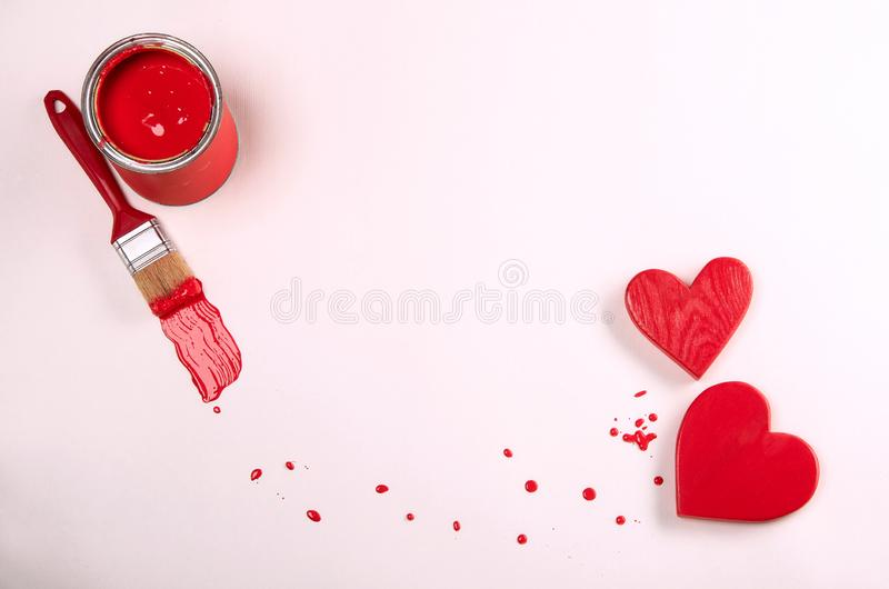 Red hearts and paint. valentines day message royalty free stock image