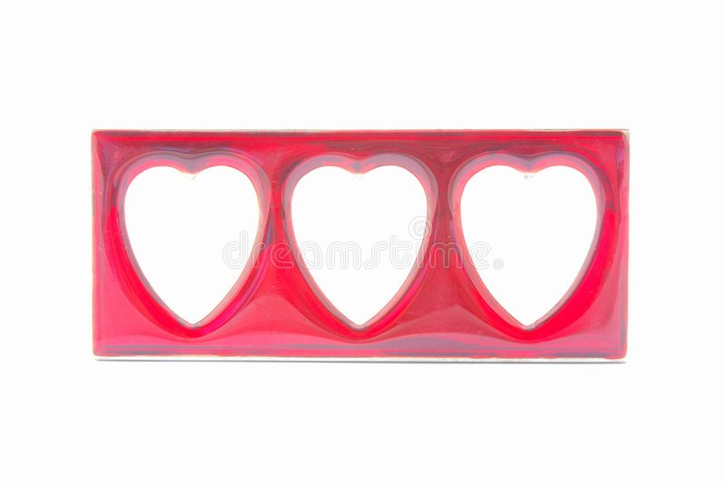 Red hearts picture frame stock image