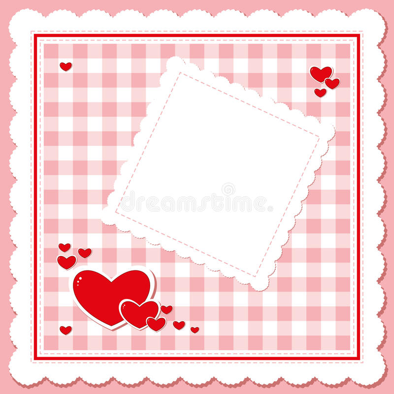 Download Red Hearts On The  Pink Checkered Napkin Stock Vector - Image: 28934892