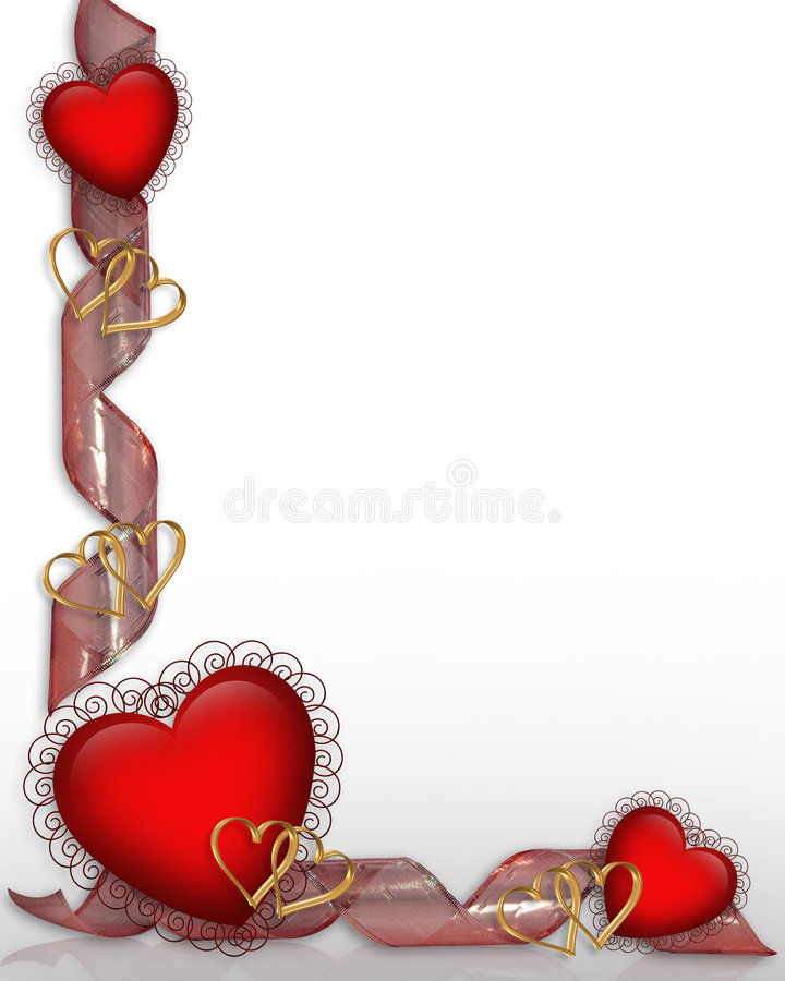 Red Hearts and Ribbons Border Valentine royalty free stock images