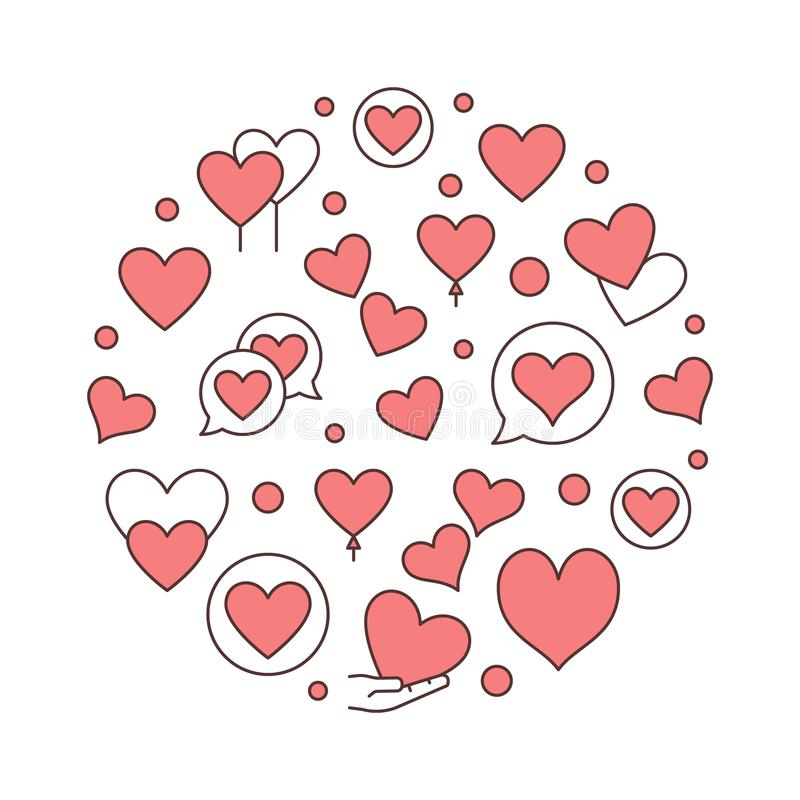 Red Hearts round vector creative illustration royalty free illustration