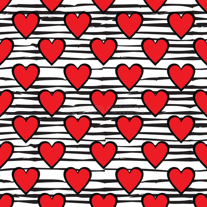 Red hearts seamless pattern on doodle line background royalty free illustration