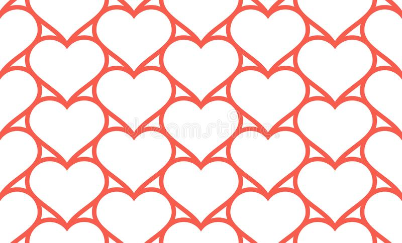 Red hearts seamless pattern. Linear design. isolated on white background stock illustration