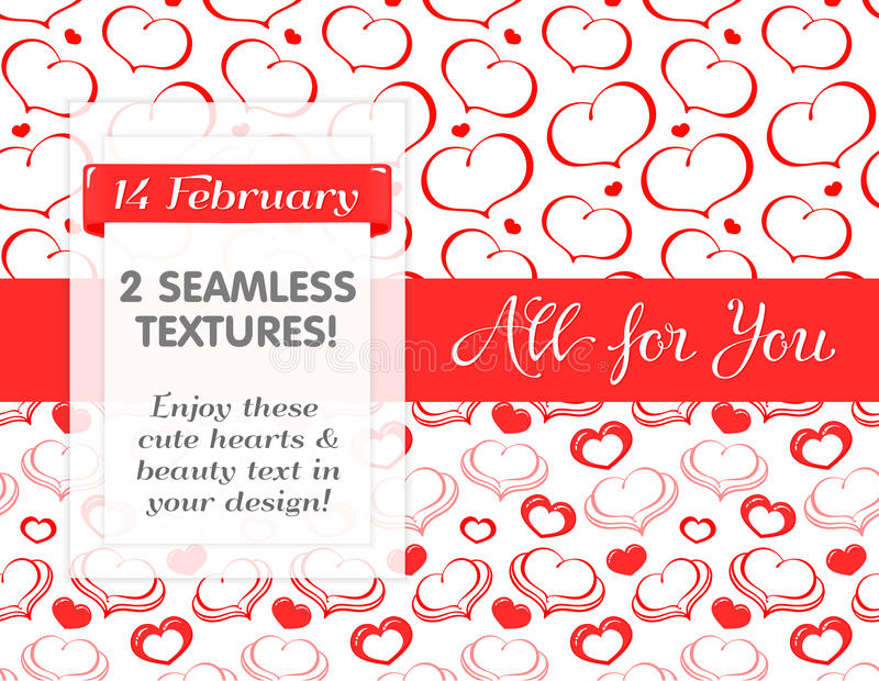 Red hearts in Seamless patterns royalty free stock photos