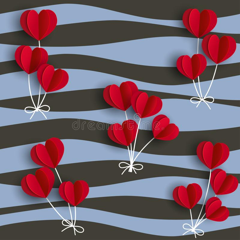 Red hearts shape balloons on wavy background,for happy Valentine `s day,fashion,fabric,textile,print or wrapping paper. Vector illustration stock illustration