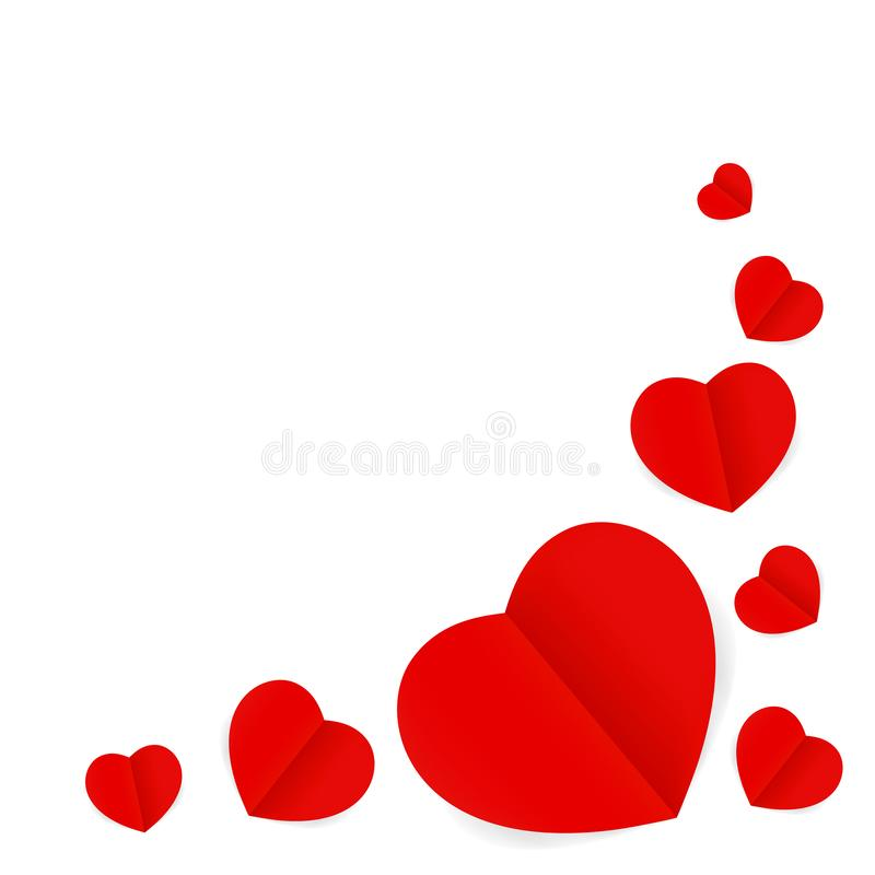 Red hearts shape isolated on white background, many paper red heart shape for valentines card wedding decoration, red heart shaped vector illustration