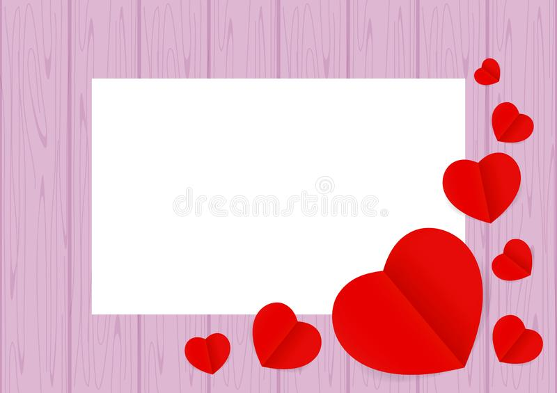 Red hearts shape on purple wood pastel color soft for banner background copy space white paper, many heart shape on wall wooden stock illustration
