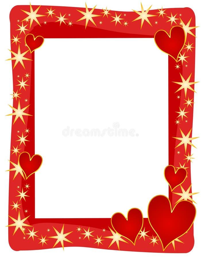 Red Hearts Stars Frame or Border royalty free illustration
