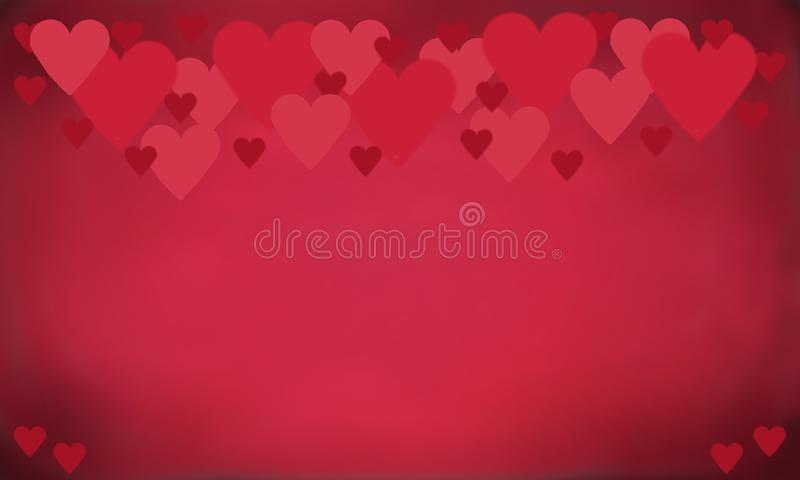 Red Hearts of Valentin background or texture. Red hearts in different size on a red background for Valentin or wedding also texture with copy space vector illustration