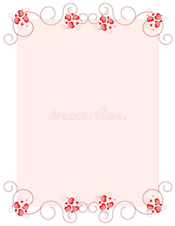Red hearts valentine's day background/ border royalty free illustration