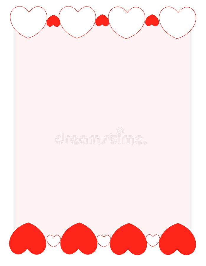 Red hearts valentine's day background/ Frame royalty free stock photos