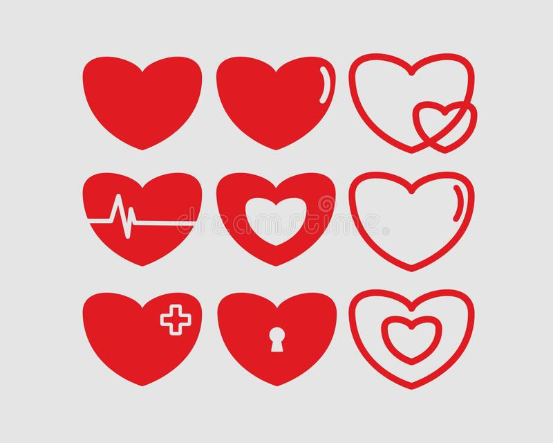 Red hearts vector illustrations set Valentines day. Hearts vector illustrations set. Donation, voluntary and charity service logotype. Healthcare logo stock illustration