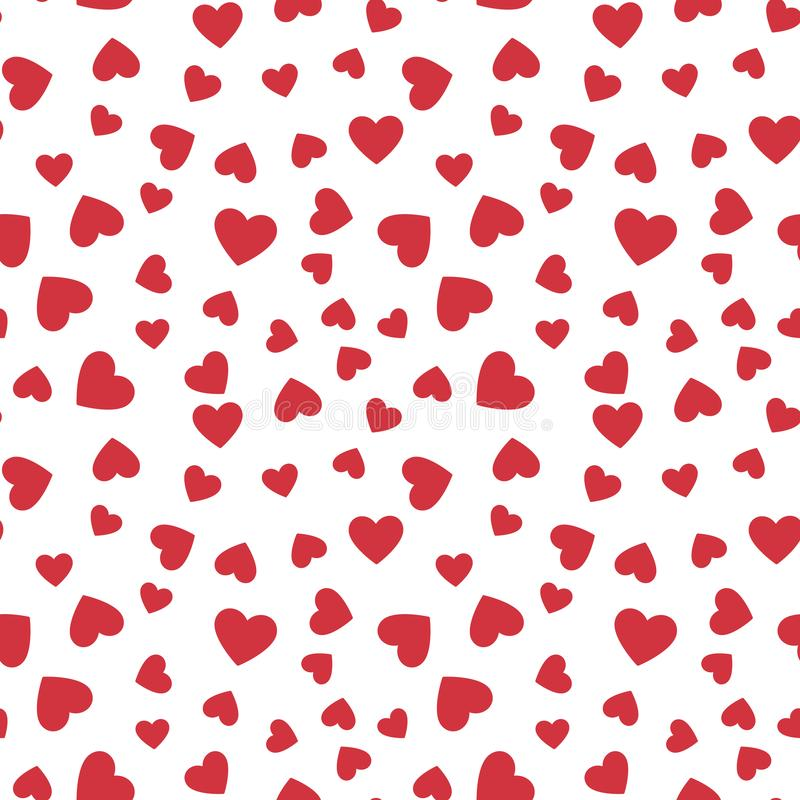 Red Hearts vector seamless pattern. Love concept background vector illustration
