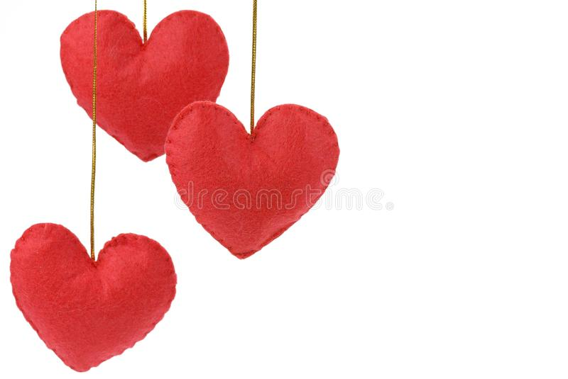 Red hearts on the white. royalty free stock images