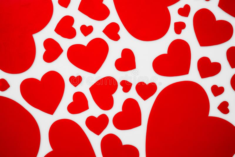 Red hearts on white background romantic concept for love and Val royalty free stock image