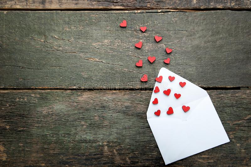 Hearts with white envelope stock photography
