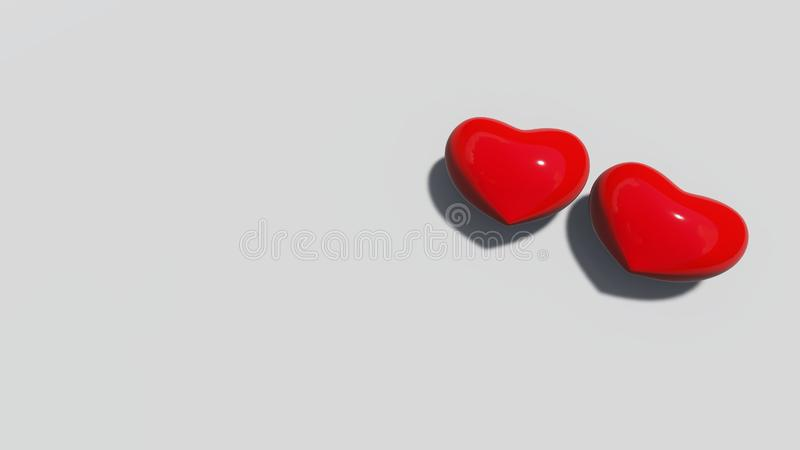 Red hearts on the white floor. 3D rendering stock illustration