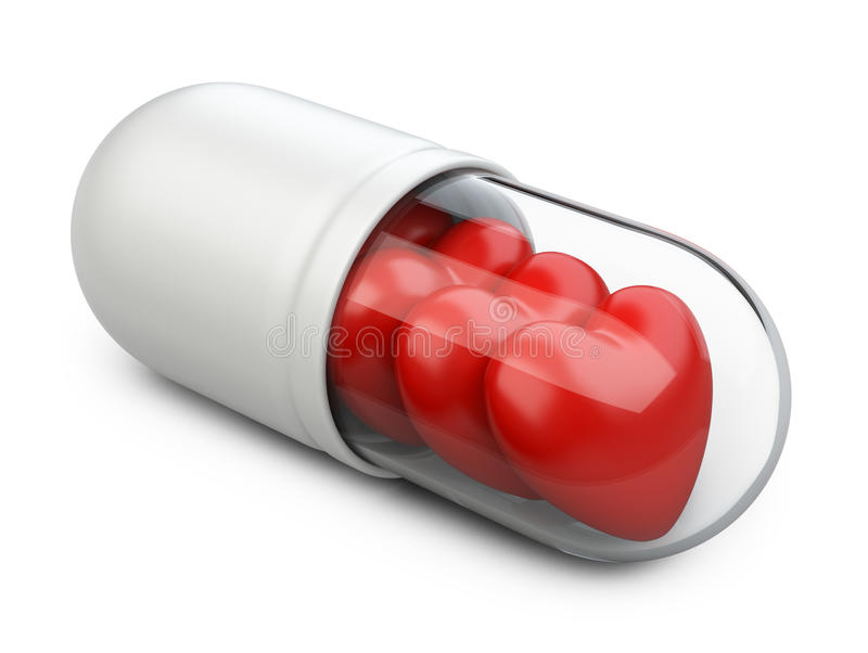 Red hearts in the white pill. royalty free illustration