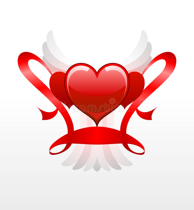 Red hearts with white wings