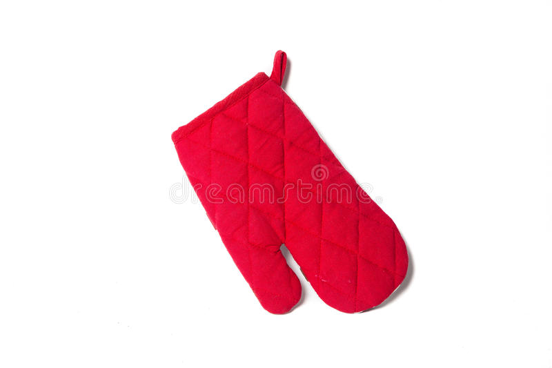 Red heat protective mitten isolated over white royalty free stock photography
