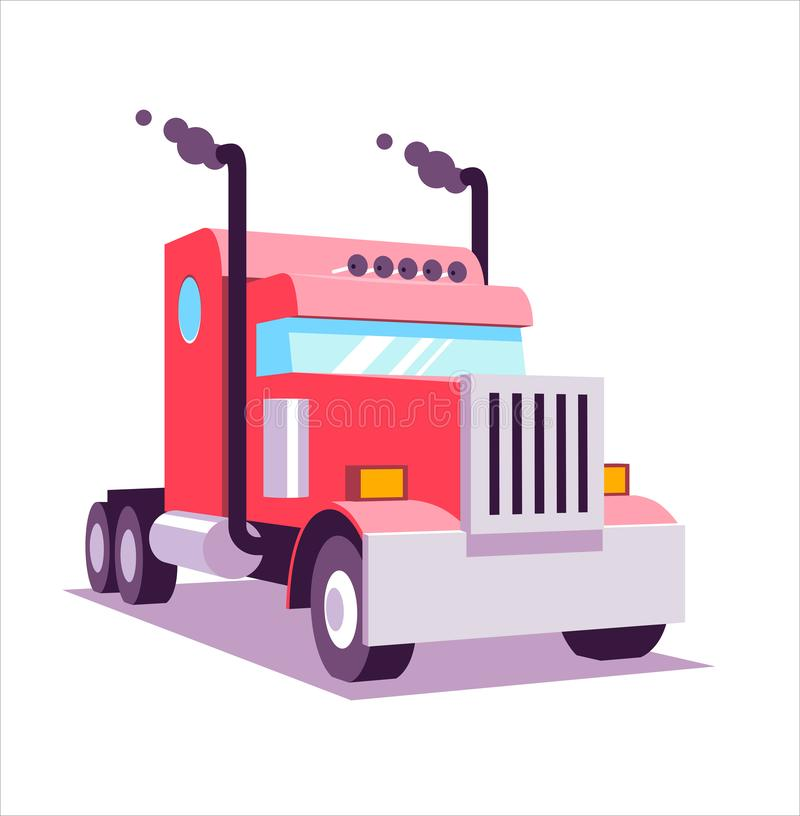 Red heavy american truck. 3D lowpoly vector illustration, flat cartoon vector illustration