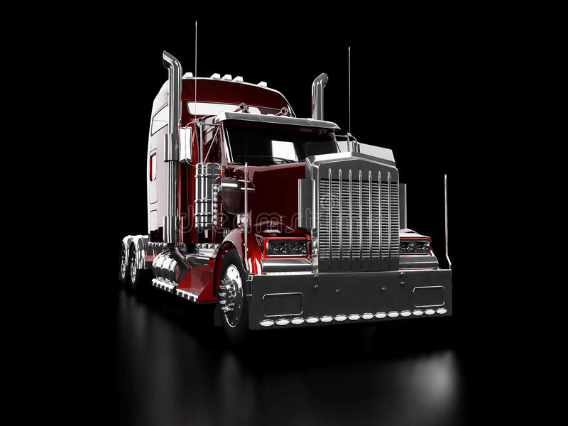 Red heavy truck. Isolated on black background stock illustration