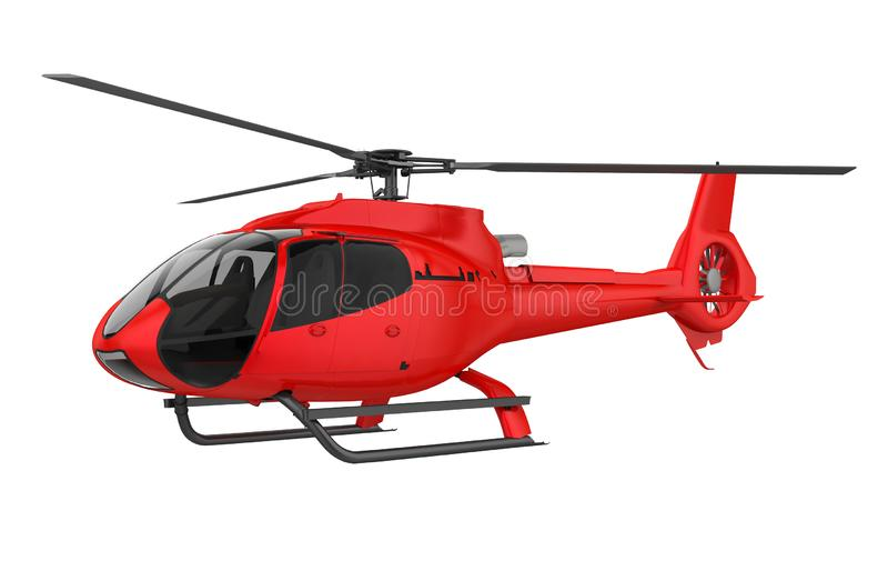 Red Helicopter Isolated. On white background. 3D render royalty free illustration
