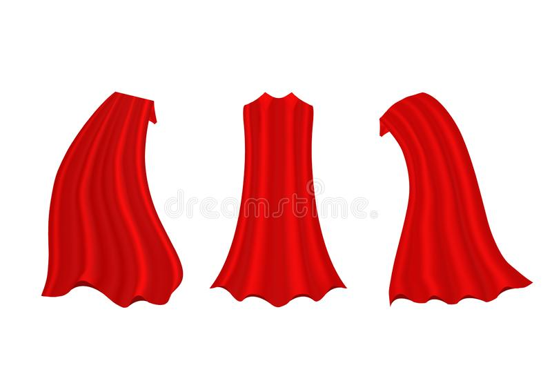 Red hero cape. Realistic fabric scarlet cloak or magic vampire cover. Vector set isolated on transparent background. Carnival clothes, decorative costume for vector illustration