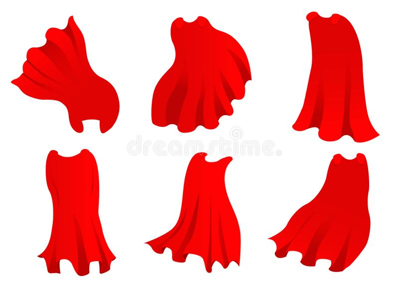 Red hero cape. Realistic fabric scarlet cloak or magic vampire cover. Vector set isolated on transparent background. Carnival clothes, decorative costume for royalty free illustration