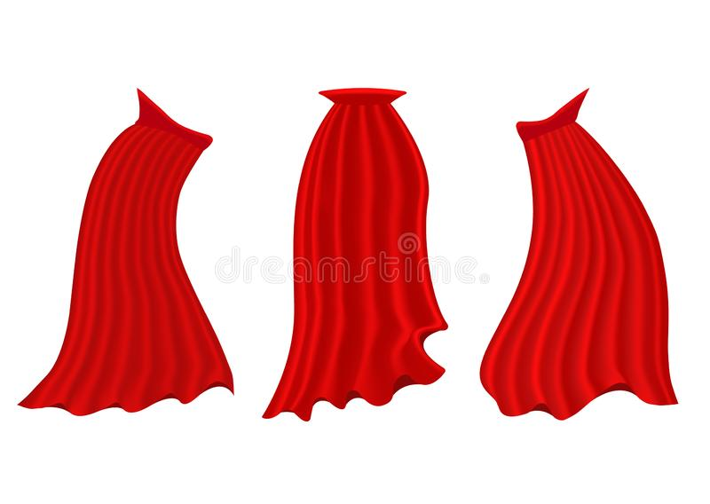 Red hero cape. Realistic fabric scarlet cloak or magic vampire cover. Vector set isolated on transparent background. Carnival clothes, decorative costume for stock illustration
