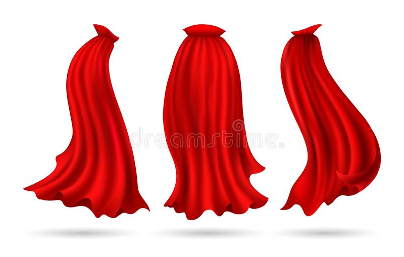 Red hero cape. Hero cape. Red superhero cloak vector illustration, flowing silk super heroes costume mantel flying on wind cloth isolated on white, vector royalty free illustration