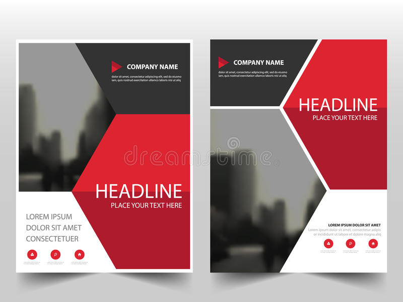 Red Hexagon Vector annual report Leaflet Brochure Flyer template design, book cover layout design, abstract business presentation. Template, a4 size design vector illustration