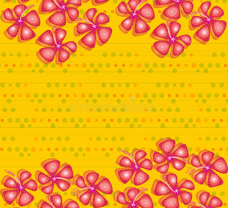 Download Red Hibiscus On Yellow Dots Stock Vector - Image: 2541117