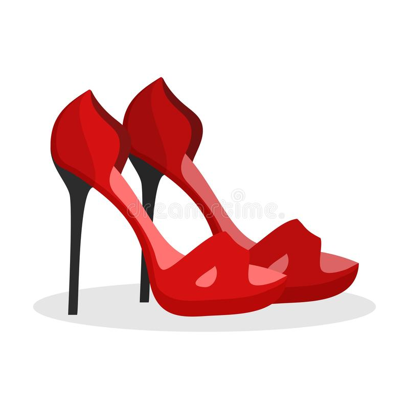 Red high heel shoes icon on white background. Woman fashion High-Heeled shoe wedding party girl footwear. vector illustration