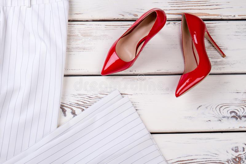 Red high heel shoes, top view. royalty free stock image