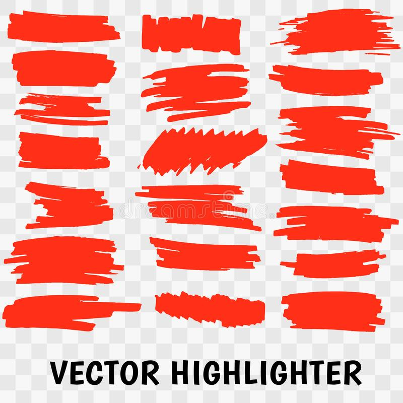 Red Highlighter Marker Strokes. Vector brush pen underline lines. Yellow watercolor hand drawn highlight set Vector illustration EPS10 vector illustration