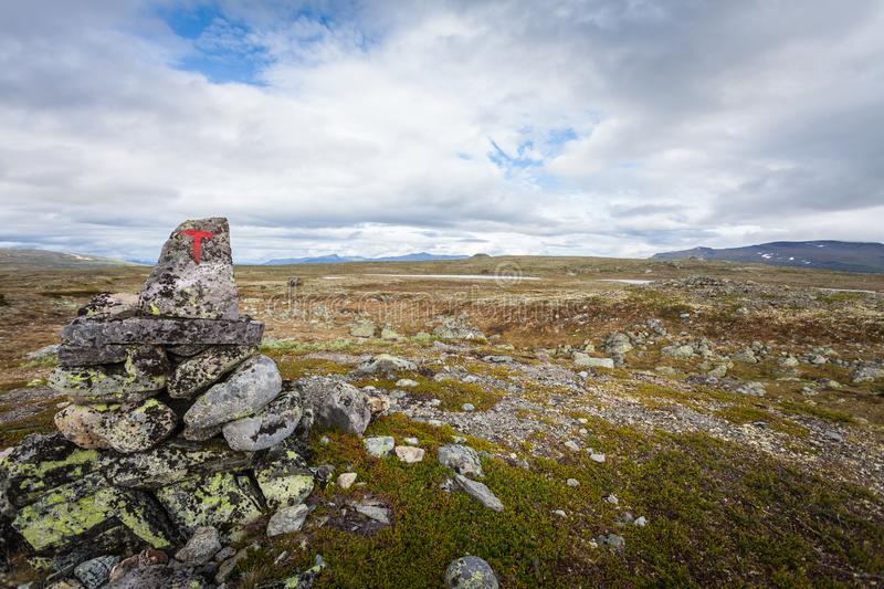 The red hiking sign royalty free stock photos