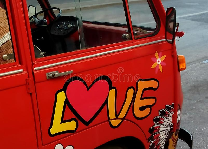 Red Hippie Love Bus royalty free stock photo