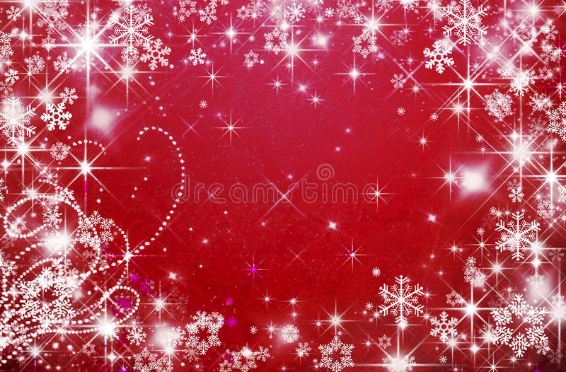 Red holiday background, Christmas, snowflakes, Valentine`s day royalty free illustration