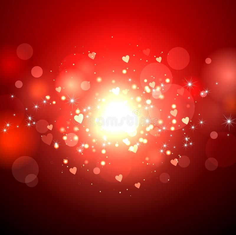 download red holiday background with lights and hearts for valentines day in the center a