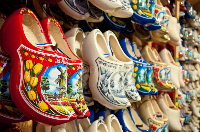 Red Holland clogs horizontal stock photography